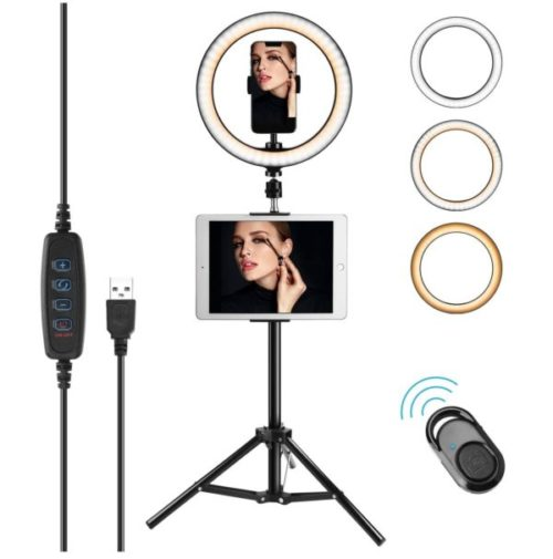 14. JACKYLED Selfie LED Ring Light with Stand and Phone Holder For Makeup Dimmable