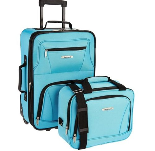 2.Rockland Fashion Softside Upright Luggage Set, Turquoise,
