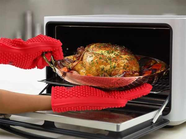 5. HYFEEL Silicone BBQ Cooking Gloves Kitchen Oven Mitts Heat Resistant for Baking Grilling Frying Barbeque