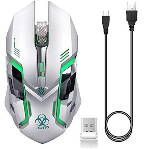 5. VEGCOO Wireless Rechargeable White Gaming Mouse