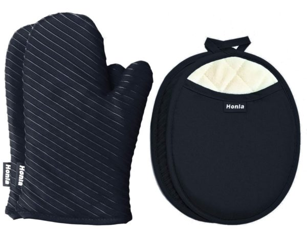 6. Honla Pot Holders and Oven Mitts Gloves with Silicone Printed