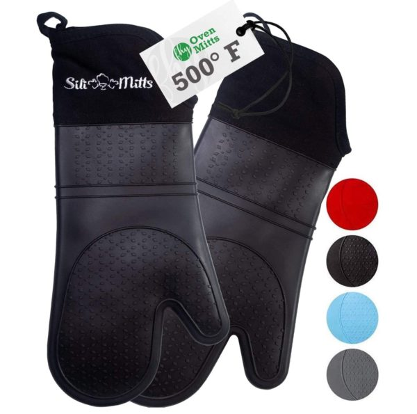 7. Oven Mitts Heat Resistant 500 Degrees - 2 Extra Long Silicone Oven Mitt Pot Holders