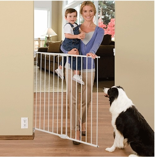 Extra Wide 56 Inch Walk Through Safety Locking Child Proof Dog Pet Gate White