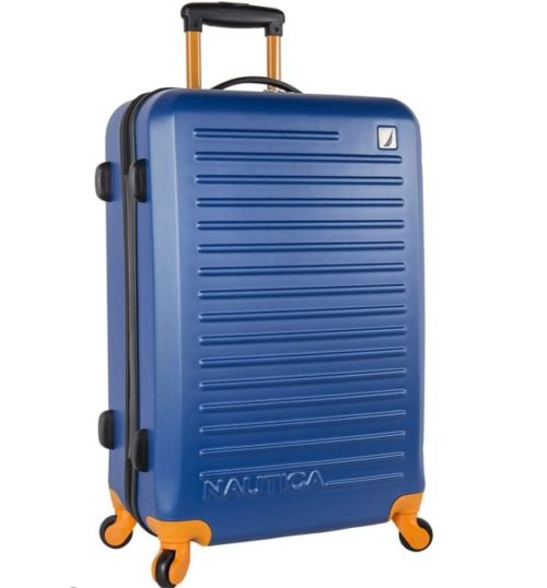 9.Nautica Ahoy Hardside Expandable 4-Wheeled Luggage, Navy Yellow