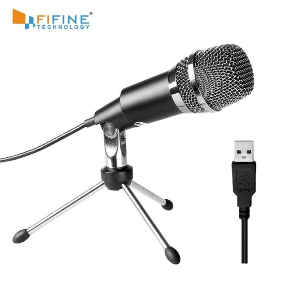 5. FIFINE K668 USB Stereo Microphone for PC Laptop - Black