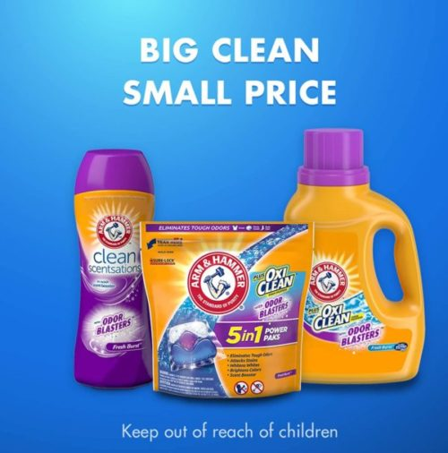 8. Arm & Hammer OxiClean Lequid Laundry Detergent with Odor Blasters Unit Dose