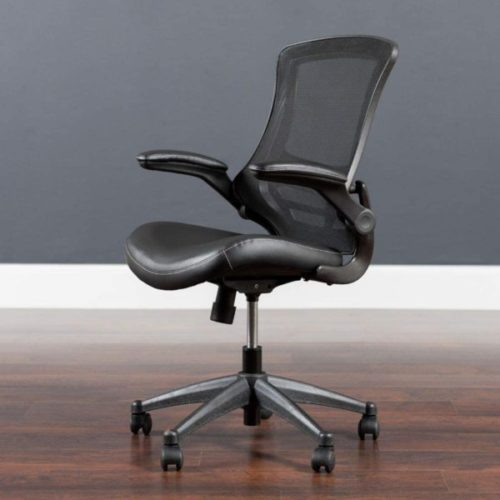 1. Flash Furniture Office Chair with Lumbar Support and Wheels Swivel Mid Back Black Mesh and Leather Seat