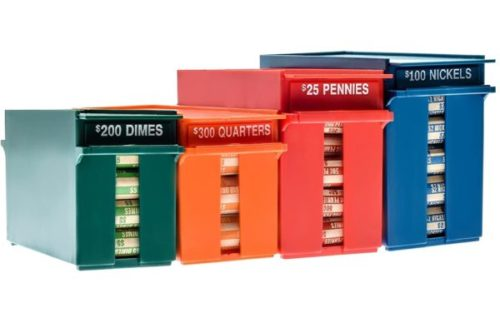 10. Nadex Rolled High Capacity Wrapped Coins Storage Boxes and Coin Organizer Trays for Quarters Mines, Nickels, and Pennies