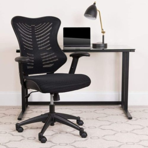 11. Flash Furniture Executive Swivel Ergonomic High Back Designer Black Mesh Office Chair with Lumbar Support and Adjustable Arms