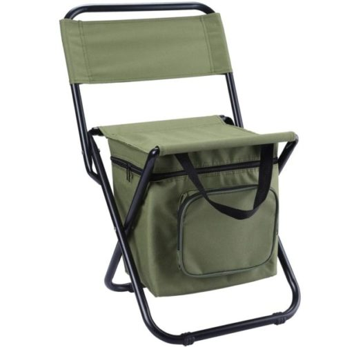 13. LEADALLWAY Foldable Fishing Chair with Cooler Bag Compact Fishing Stool