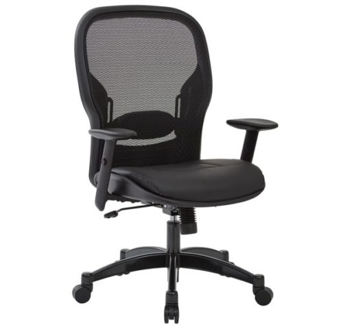 13. SPACE Seating Office Chairs with Lumbar Supports and Breathable Mesh Black Back with Padded Eco Leather Seat
