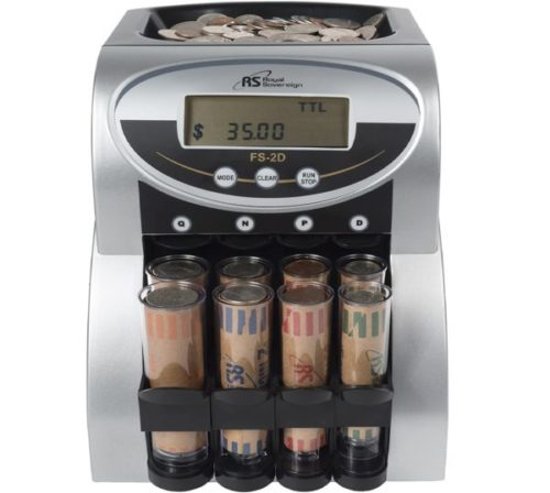 4. Royal Sovereign 2 Row Coin Organizer and Electric Counter with Patented Anti-Jam Technology