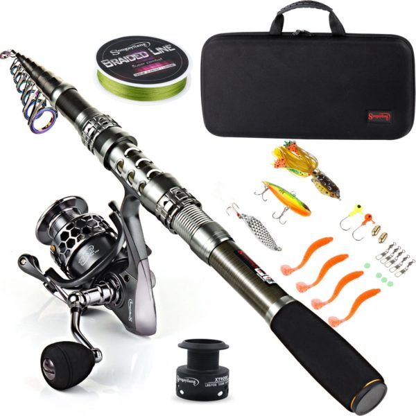 4. Sougayilang Fishing Rod and Reel Combos with Telescoping Fishing Pole Spinning and Carrier Bag