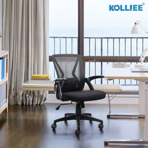 6. KOLLIEE Mid Back Office Chair with Lumbar Support and Ergonomic Swivel Adjustable Height Task Chair