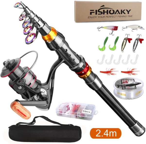 7. FISHOAKY Fishing Rod and Reel Kit with Carbon Fiber Telescopic Pole for Adults Travel Saltwater
