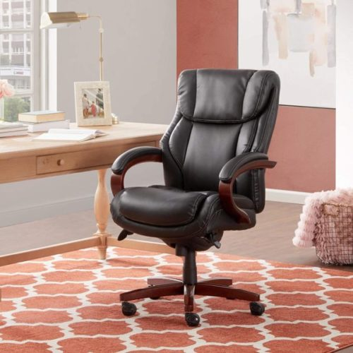 7. La-Z-Boy Bellamy Executive Office Chair with Lumbar Support with Waterfall Seat Edge and Memory Foam Cushions Bonded Leather Black