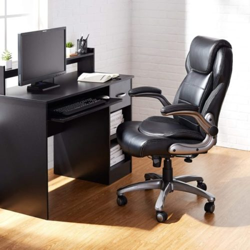 9. AmazonCommercial Ergonomic Executive High-Back Bonded Leather Office Chair with Lumbar Support and Flip-Up Arms