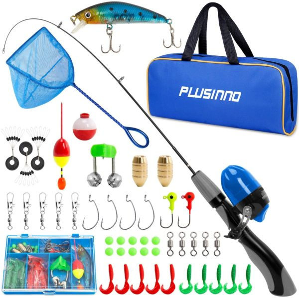 9. PLUSINNO Kids Fishing Pole with Portable Telescopic Fishing Rod Combos