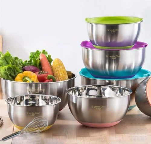 1. Umite Chef Stainless Steel Metal Large Mixing Bowls with Airtight Lids