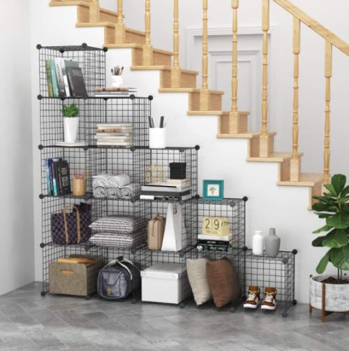 10. C&AHOME Wire 16 Cube Organizer Bookcase Storage with Metal Build
