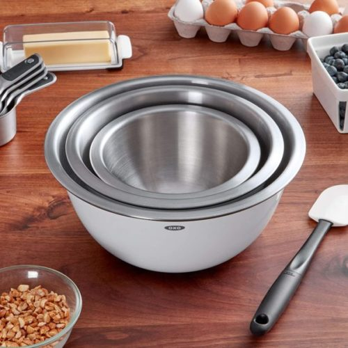10. OXO Good Grips Stainless Steel Large Mixing Bowl Set