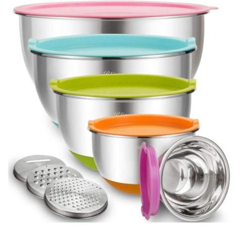 11. Blingco Stainless Steel Large Mixing Bowls Set with Airtight Lids