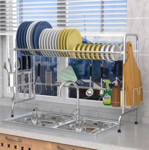 11. Veckle Stainless Steel Dish Drying Rack with Utensil Holder Shelf Storage Rack