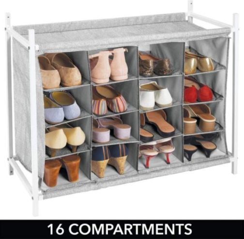 12. mDesign 16 Cube Organizer Rack Holder with Metal Frame for Closet