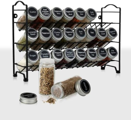13. SWOMMOLY Hanging Spice Rack with Funnel Complete Set and Chalk Marker