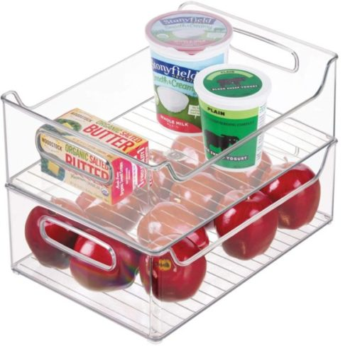 13. iDesign Clear Plastic Refrigerator and Freezer Organizer Storage Bin with Handles