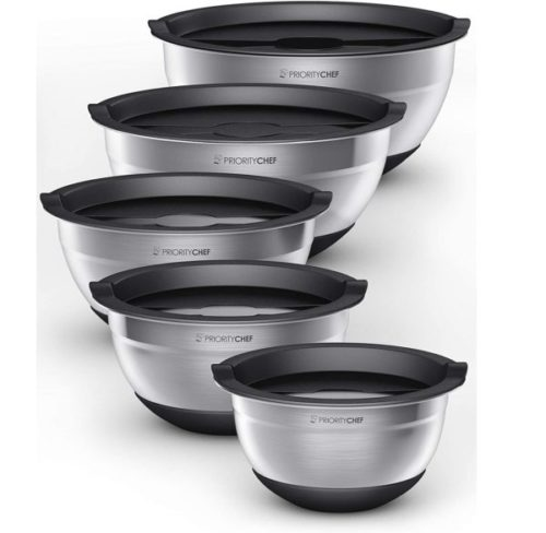 14. PriorityChef Stainless Steel Large Mixing Bowls Set with Silicone Base