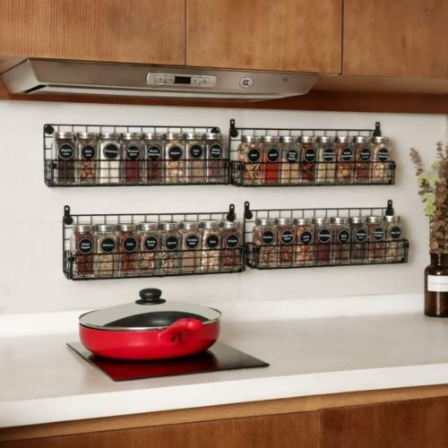 15. X-Cosrack Hanging Spice Rack Organizer for Pantry and Kitchen Storage