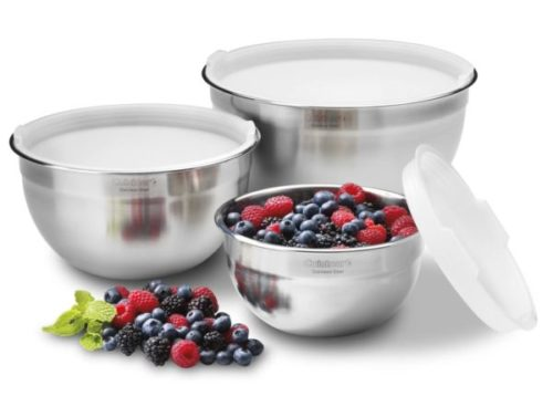 4. Cuisinart Stainless Steel Large Mixing Bowls with Lids