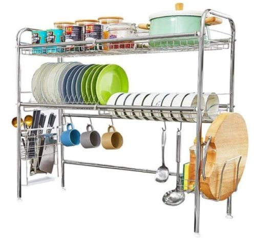 5. HEOMU Stainless Steel Kitchen Dish Rack Organizer with Length Adjustable