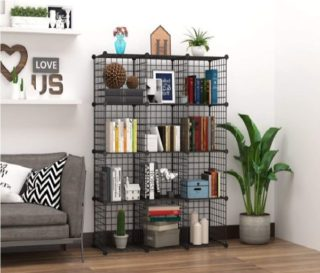 6. C&AHOME Wire Bookshelf Shelving Modular 12 Cube Storage Cabinet