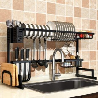 6. Pusdon Over Sink Dish Drying Rack and Cutlery Dolder for Kitchen Organizer