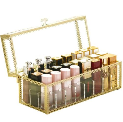 7. Hersoo Vanity Cabinet Lipstick Organizer with Removable Divider and Dust Free Transparent