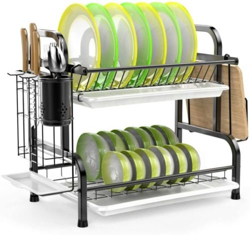 7. ISPECLE Stainless Steel Drying Dish Rack Organizer