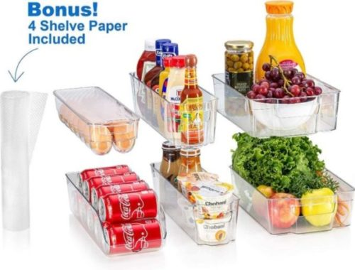 7. Sagler Fridge Organizer Bin Set Container and Shelf Liners