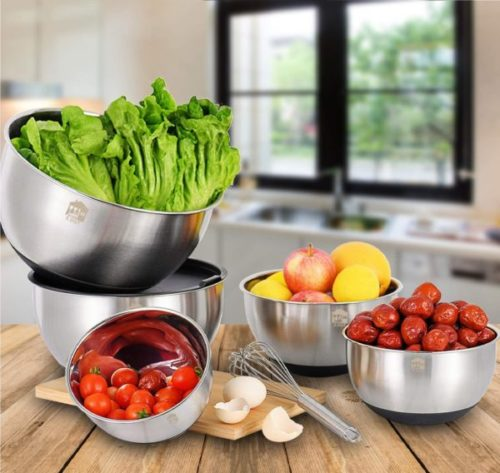 7. Wildone Stainless Steel Large Mixing Bowls Set with Non-Slip Bottoms and Measurement Marks