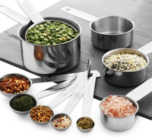 8. Laxinis Stainless Steel Measuring Cups and Spoons Set