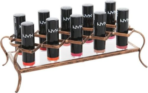 8. MyGift Make Up Holder Gold Tone Lipstick Organizer with Metal and Acrylic