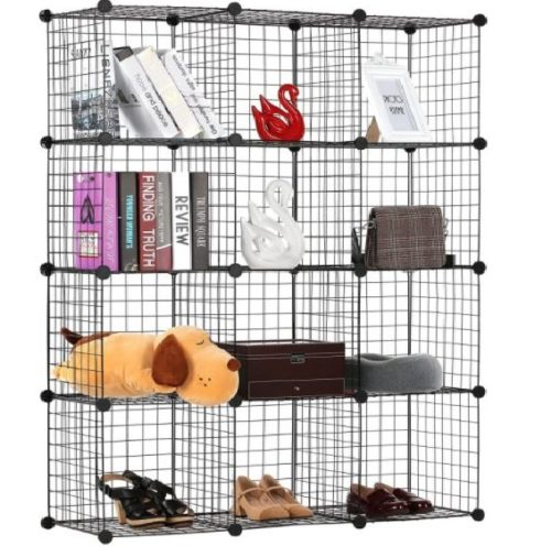 9. BASTUO Wire Grid 12 Cubes Organizer with Metal Bookcase Shelves Module