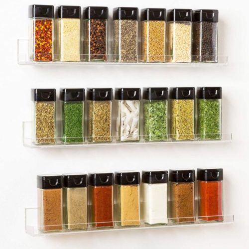 9. Pretty Display Acrylic Wall Mount Hanging Spice Rack with Shelf