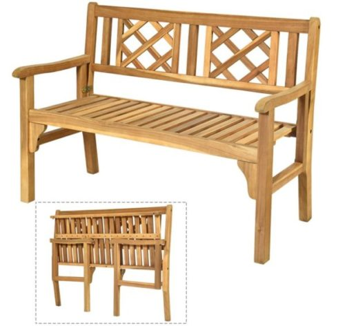 11. Giantex Foldable Wooden Patio Bench and Garden Bench with Backrest and Armrest
