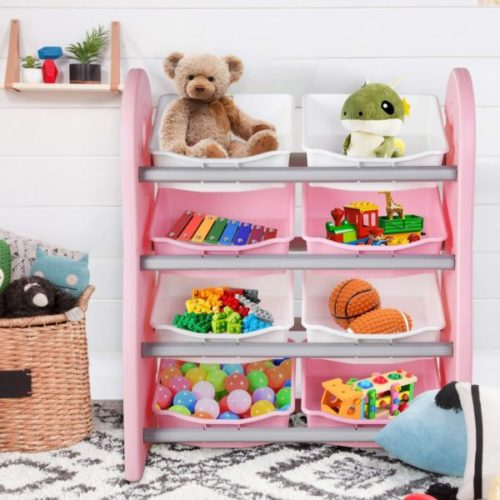 11. POTBY Kids Toy Organizer Shelves with 8 Drawers Bins