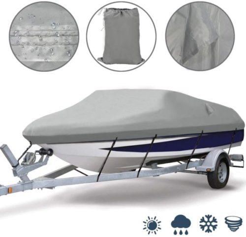 12. Ogrmar Heavy Duty Trailerable Boat Cover Waterproofing with Air Vent Marine