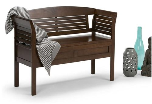 12. Simpli Home Arlington Entryway Storage Wooden Benches with Rustic Brown