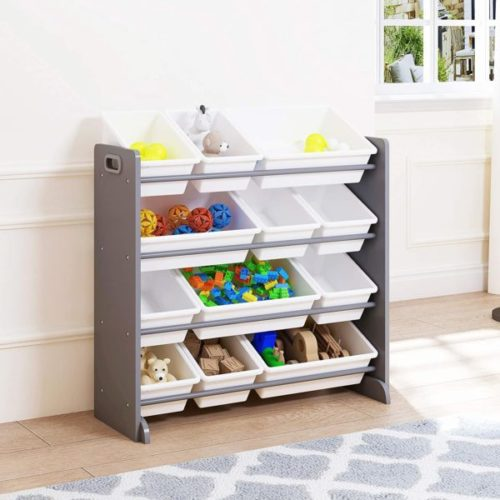 12. UTEX Toy Organizer for Kids with Plastic Bins