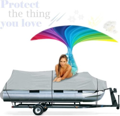 13. ANYURE Pontoon Boat Cover Waterproofing with Heavy Duty Marine Mildew